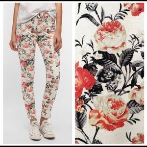 BDG High Rise Ankle Floral Jeans